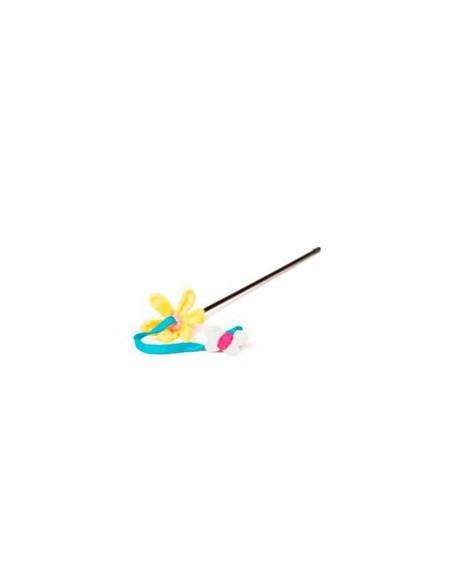 Juguete gato spring caña flor y mariposa 40 cm
