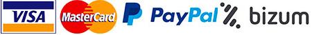 Pagos con Visa, Mastercard, Paypal, Bizum